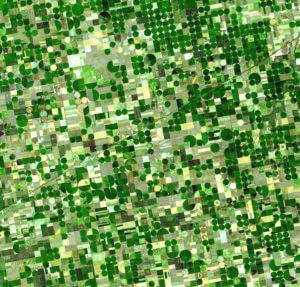 Imagem de satélite tirada de área rural do Kansas, Estados Unidos
