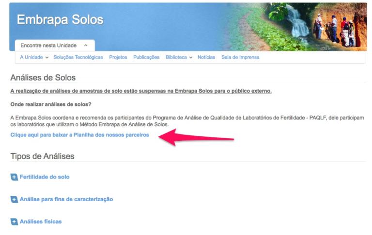 Print Screen do site da Embrapa para baixar a planilha