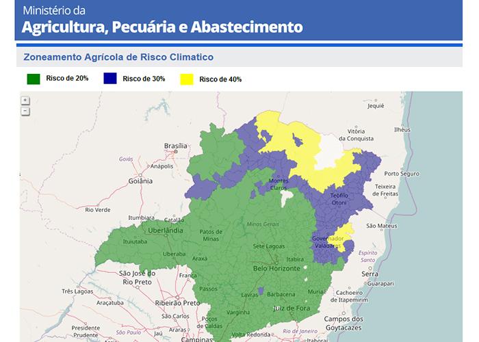 Zoneamento agrícola de risco climático em Minas Gerais, com três níveis de risco: 20% em verde; 30%, azul; e 40% em amarelo