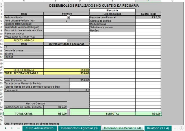 Planilha de gestão agrícola fornecida da Embrapa