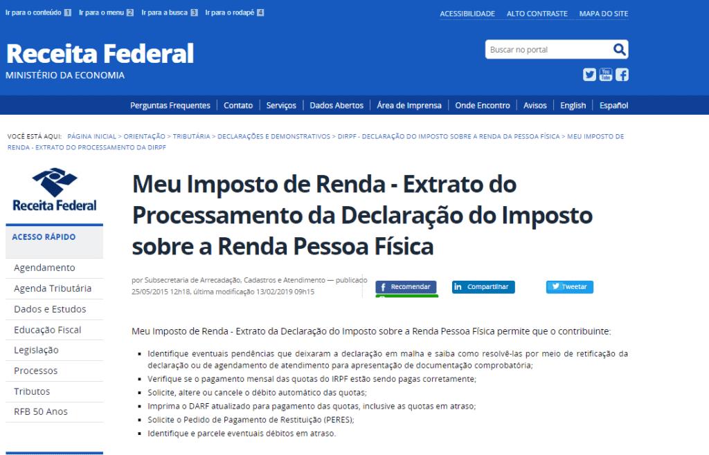 imposto de renda atrasado - demonstrativo da tela da Receita Federal no extrato da DIRPF