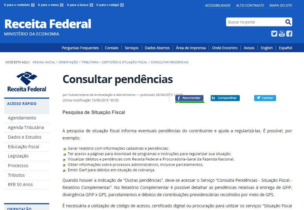 imposto de renda atrasado - demonstrativo da tela da Receita Federal em consulta de pendências