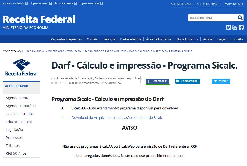 imposto de renda atrasado - demonstrativo da tela da Receita Federal em Darf - cálculo e impressão