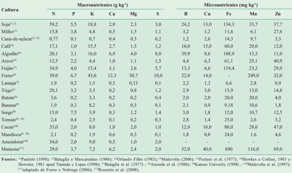 Concentração de nutrientes nas partes exportadas das culturas