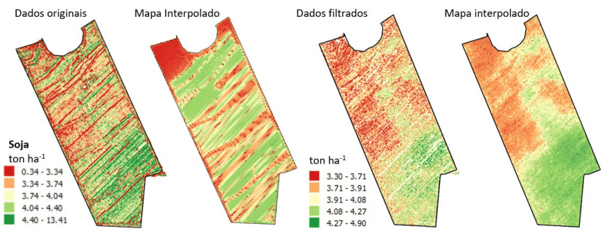 Dados de produtividade de soja originais e após a filtragem utilizando o software MapFilter 2.0
