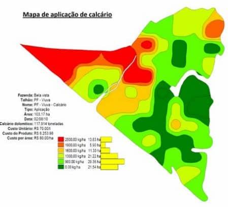 mapa de aplicação de calcário