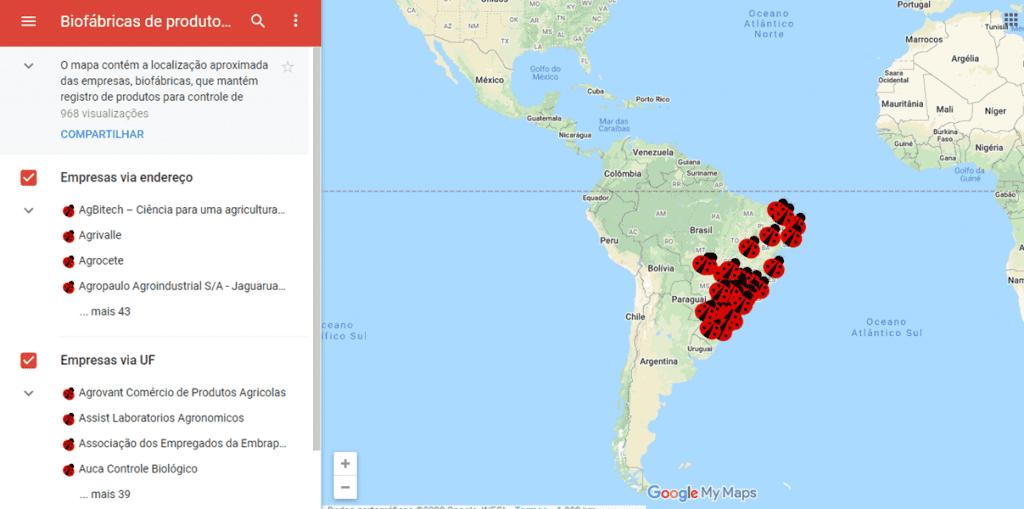 Mapa para localização de biofábricas no Brasil
