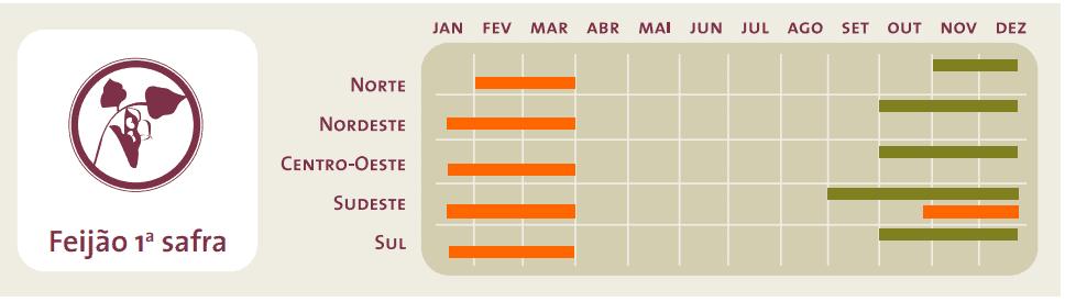 Calendário agrícola da primeira safra de feijão no Brasil com a cor verde que corresponde ao período de plantio e a laranja ao da colheita