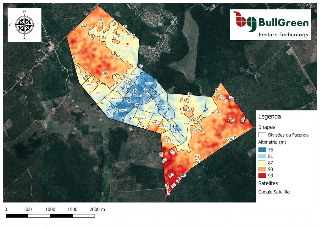 mapa de altimetria da BullGreen