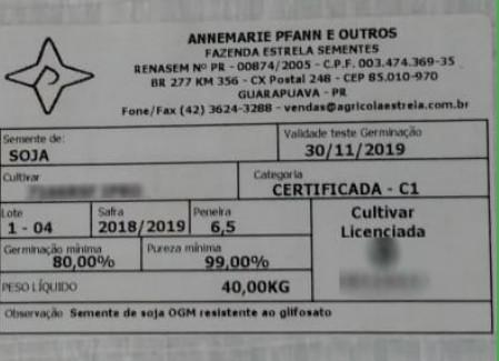 Dados e garantias do lote de sementes em etiqueta