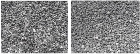 foto de esterco granulado misturado com fertilizante e de fertilizante organomineral fundido