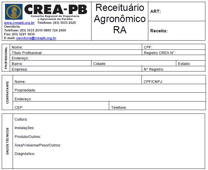 Detalhe de parte do modelo de receituário Crea - Paraíba