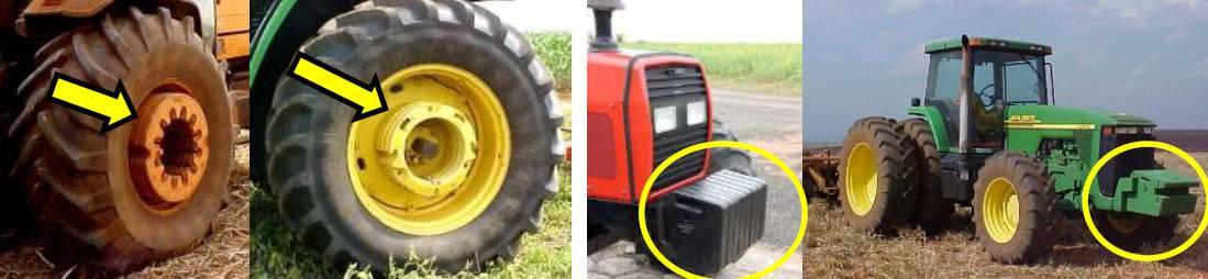 quatro fotos com diferentes tipos de lastragem sólida, com discos e placas metálicas em tratores agrícolas