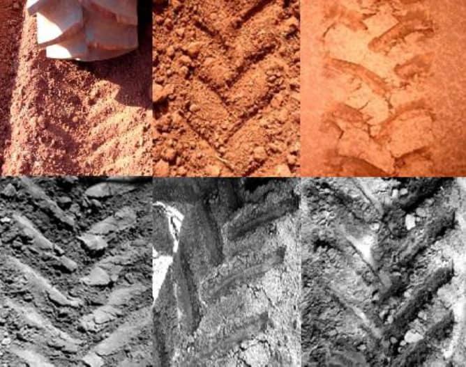 fotos com diferentes marcas deixadas pelos rodados dos tratores, da esquerda para a direita, lastro insuficiente, excessivo e ideal