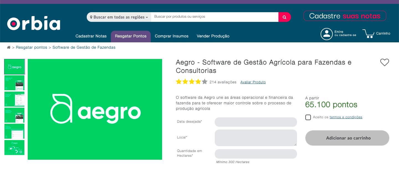 página da plataforma Orbia do Impulso Bayer com o resgate de pontos para assinar o software de gestão Aegro