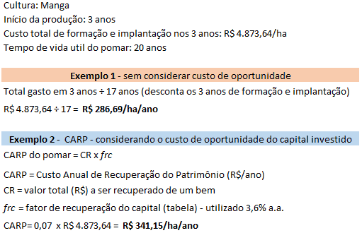 dois exemplos de modelos de cálculo de depreciação da lavoura