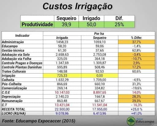 tabela com custos de produção de cafeeiros em sequeiro e irrigado obtidos em estudo de caso