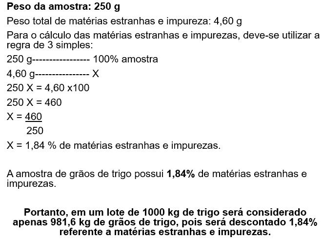 qualidade do trigo, exemplo de método de cálculo