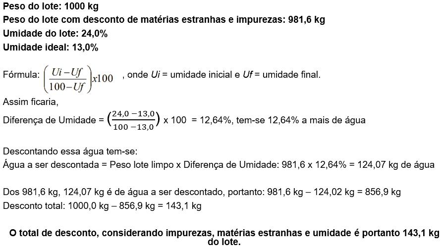 qualidade do trigo, exemplo de cálculo do desconto pelo grau de umidade do lote