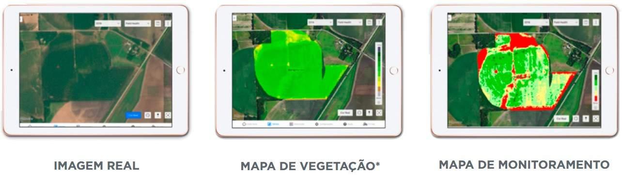 foto de três tablets que exigem imagem real, mapa de vegetação e mapa de monitoramento. Imagens atuais e históricas da lavoura são importantes para traçar um plano assertivo para a safra