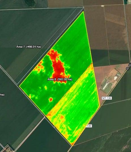 Exemplo de área com problema identificado pelas imagens NDVI  no software de gestão rural Aegro