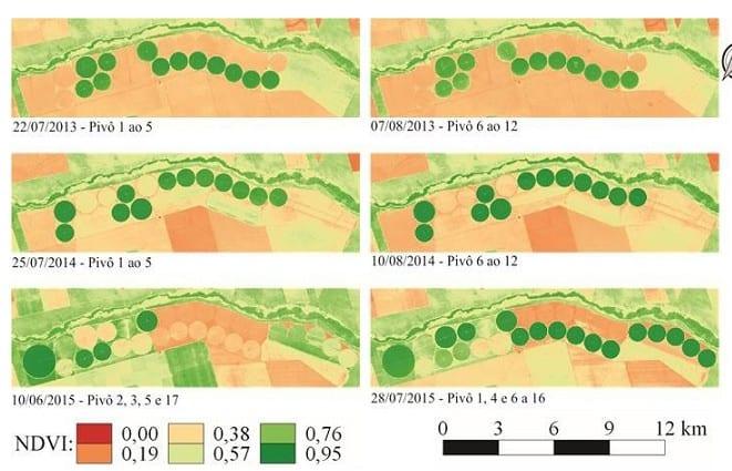 Imagens após o processamento e cálculo do NDVI em diferentes datas, demonstrando a evolução de uma área de cultivo de milho sob pivôs de irrigação