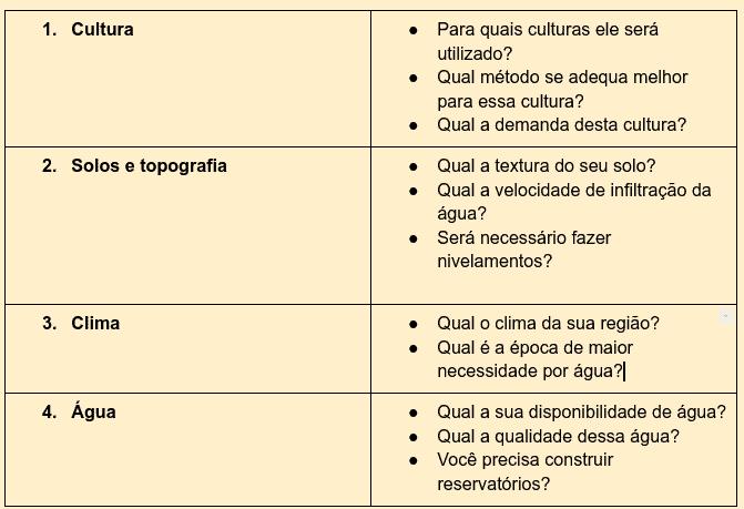 tabela com aspectos a considerar na escolha do sistema de irrigação - tipos de irrigação na agricultura