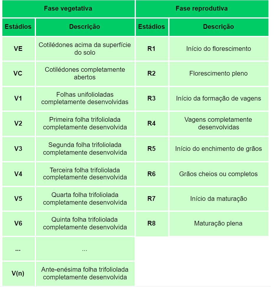 tabela com descrição dos estádios vegetativos e reprodutivos da soja