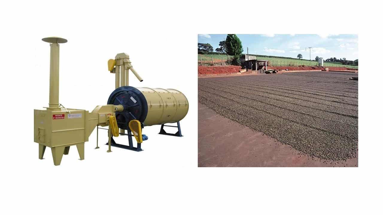 Secador mecânico rotativo de café  e secagem de café em terreiros