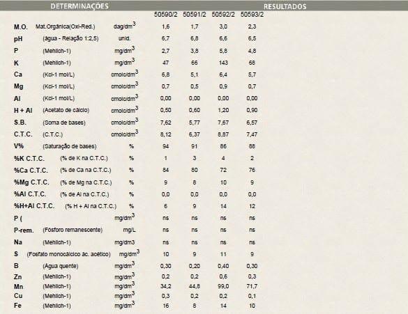 tabela com análise de solo de uma área de 20 ha, dividida em quatro subáreas de 5 ha, mostra níveis diferentes dos atributos químicos
