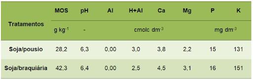 tabela de como características químicas não permitem diferenciar as áreas de cultivo por tratamentos, soja/pousio e soja/braquiária.