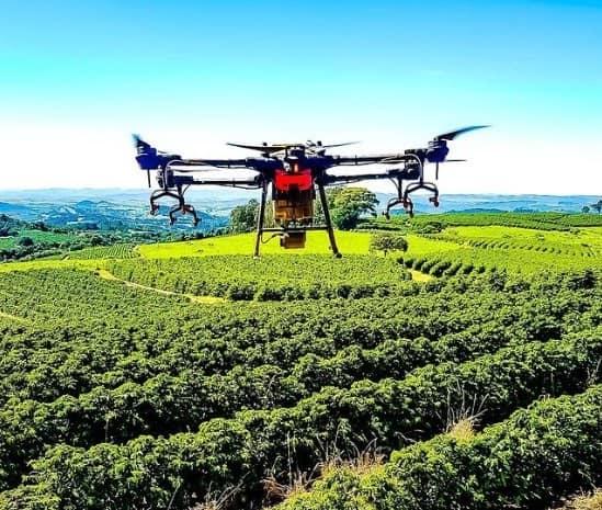 Drone em operação no cafeeiro