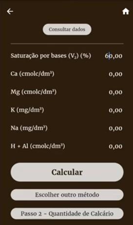 aplicativo para cálculo de calagem em um mockup de celular