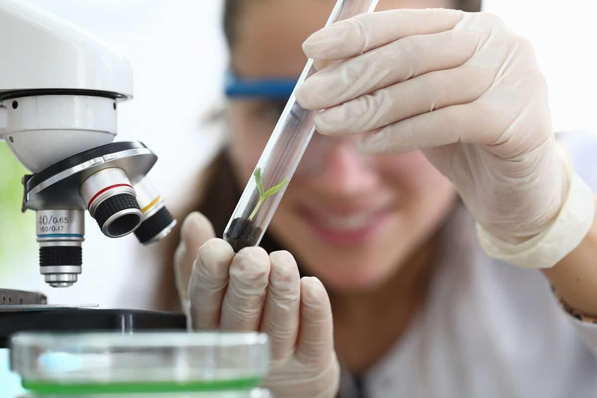 Imagem de uma cientista com luvas e óculos especiais, atrás de um microscópio. Ela observa sorrindo uma pequena planta dentro de um tubo de ensaio.