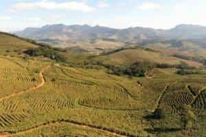 Imagem mostra terraços em propriedade rural no Brasil